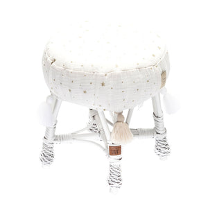 Small Wicker Stool - White - HartCo. Home & Body
