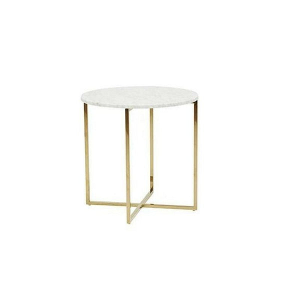 Globe West - Elle Luxe Round Side Table / Brass Marble - HartCo. Home & Body
