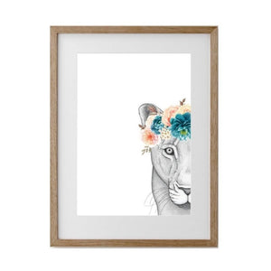 Linda The Lioness Flower Crown - Framed A1