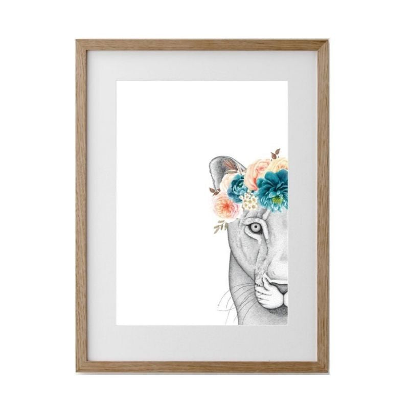 Linda The Lioness Flower Crown - Framed A1 - HartCo. Home & Body