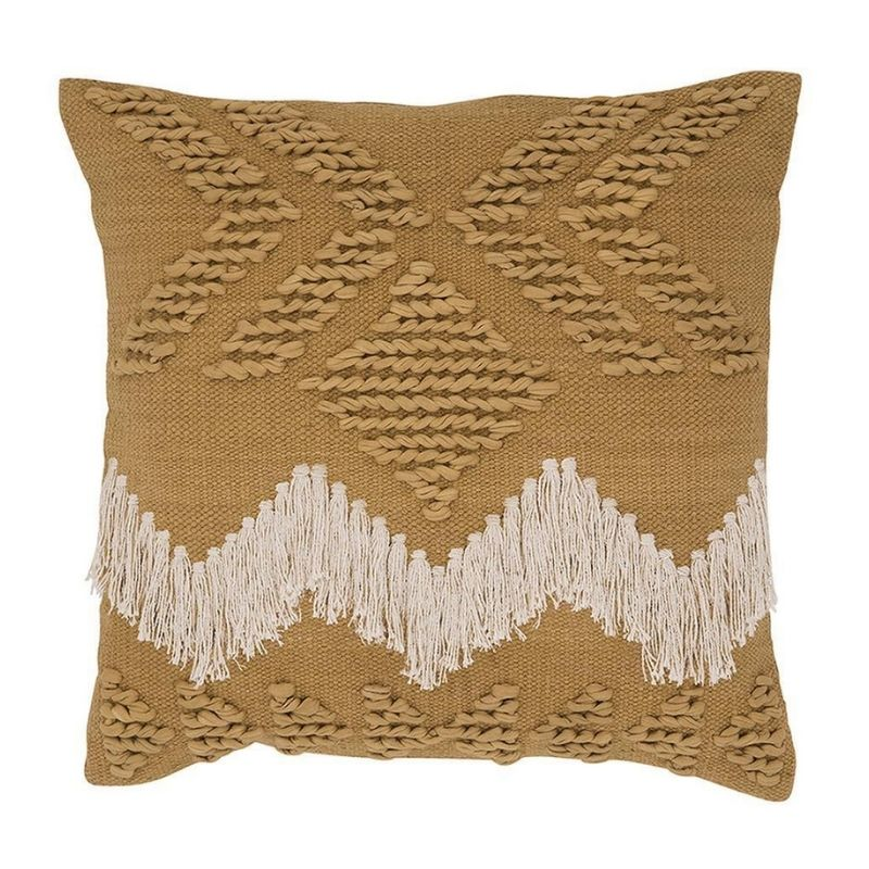 Fringe Cushion Tan and White Fringing