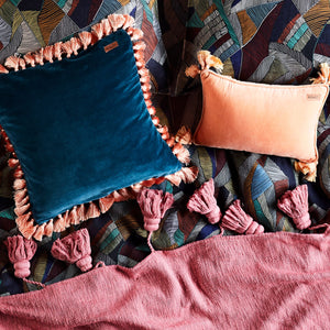 Teal Velvet Tassel Cushion Cover - HartCo. Home & Body