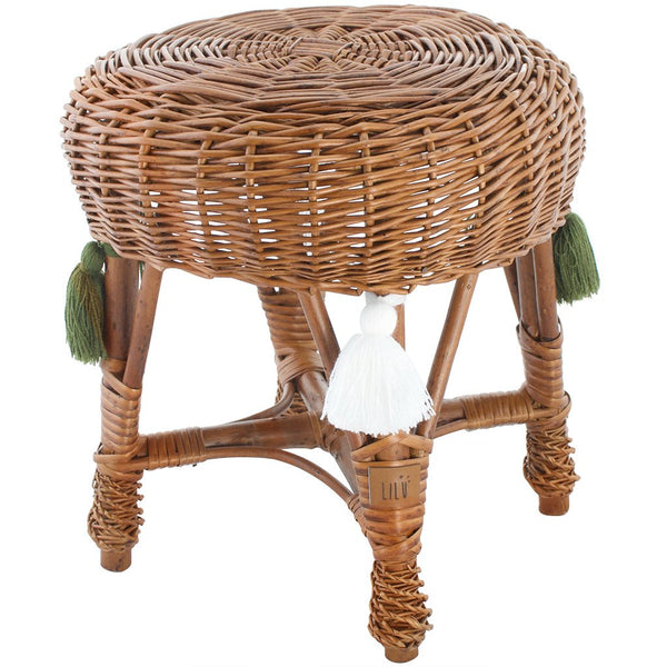 Small Wicker Stool - Natural - HartCo. Home & Body