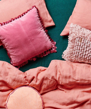 Coral Linen Pillowcase Set