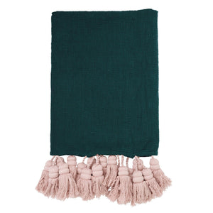 Deep Teal Tassel Throw