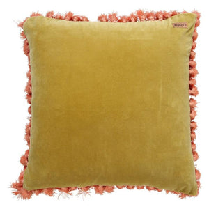 BURNISHED GOLD VELVET TASSEL CUSHION COVER