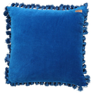 MEDITERRANEAN BLUE VELVET TASSEL CUSHION COVER