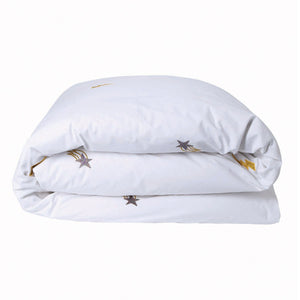 Out of Space White Embroidered Quilt Cover