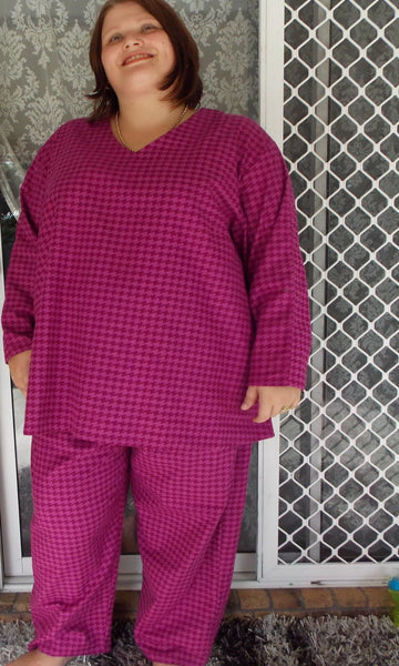 LAURA V-NECK LONG SLEEVE TOP AND WIDE LEG PYJAMA SET (FLANNELETTE) - ST 316-393VFL