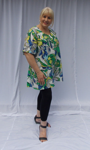 EXTRA LONG TOP WITH ROUND NECK AND SLEEVE SPLITS (POLYESTER) - ST 90RSS.PPR