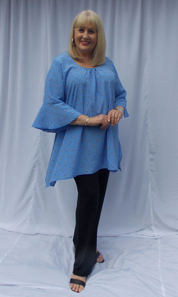 AMELIA EXTRA LONG TOP WITH CENTRE FRONT GATHERS BOX PLEAT SIDES AND SLEEVE FLOUNCE (POLYESTER) - ST 89RSF.PPR