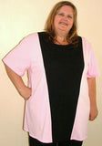 DALILAH LONG LENGTH TOP BLACK C/F INSERT PANEL (COTTON KNIT) - ST 16VFR.CC