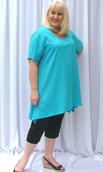 AMANDA C/F GATHERS SH/SLV FLARED BOX DROP SIDE XLONG TOP (COTTON KNIT) - ST 89RND.CC