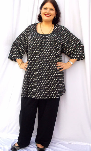 C/F GATHERED NECK FLARED X-LONG TOP 3/4 SLV (POLYESTER) – ST 90BRG.PPR