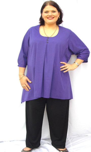 BETH BOX PLEAT C/F FLARED X-LONG TOP 3/4 SLEEVE (COTTON KNIT) - ST 90BR3B.CC