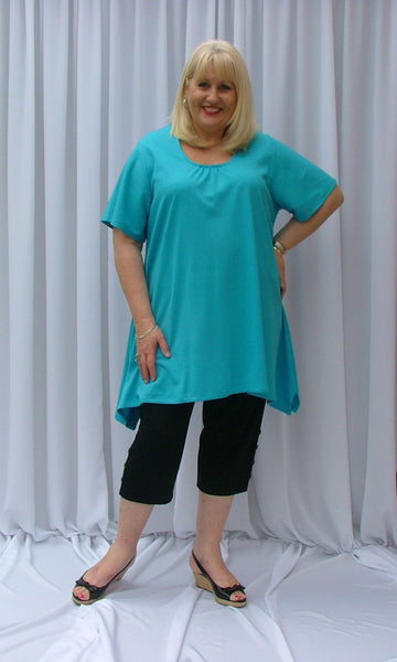 BRITTNEY C/F GATHERED NECK FLARED X-LONG TOP (POLY COTTON KNIT) - ST 90RND.PC