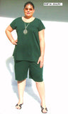LONGER WIDE LEG SHORTS WITH POCKETS (POLY COTTON KNIT) - ST 93A.PC