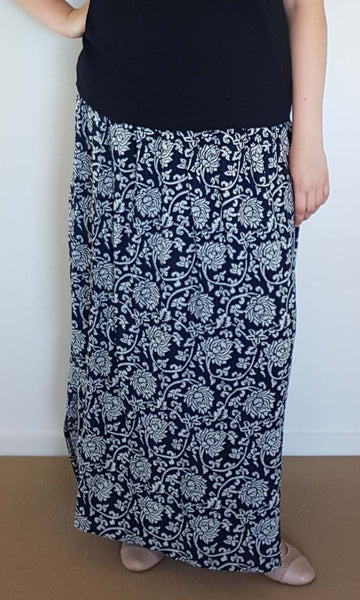 TAMI MAXI SKIRT WITH HEM SPLITS AND POCKETS (COTTON/RAYON) - ST 59.CPR