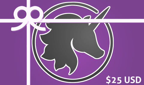 $25 Gift card background with Lust Arts unicorn head logo under a graphic ribbon