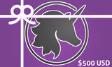 $500 Gift card background with Lust Arts unicorn head logo under a graphic ribbon