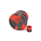 Double-Sided Suction Cup with King Noire's logo on this side in 2 color marble of Gloss Red and Sparkling Black, with a mini version, on a white background
