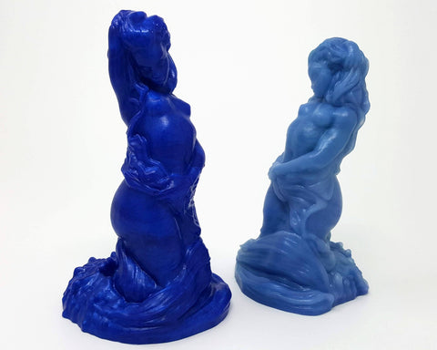 Two Mermaid fantasy adult toys from Lust Arts in blue solid and marble custom color examples