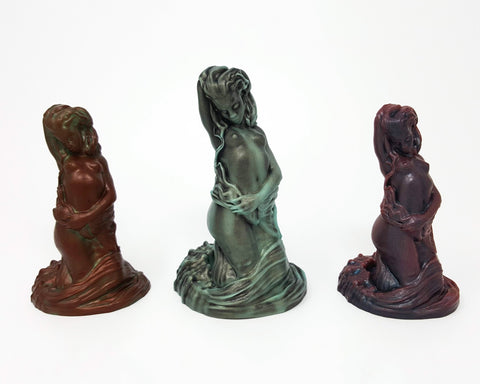 Three of the Mermaid fantasy adult toy designs facing forwards from Lust Arts in each of the original colors