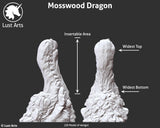 Sizing image for the Mosswood Dragon fantasy-themed adult toy using a 3D model to show insertable and widest areas