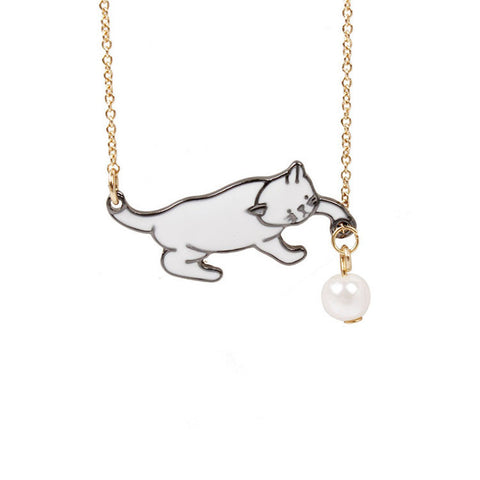 Cute Cat and Ball Enamel Series Necklace with Short Chain