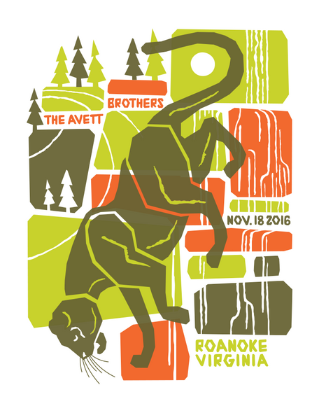 AVETT BROTHERS 2016 Roanoke Virgina Poster