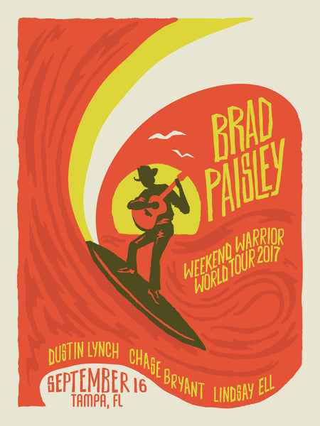 BRAD PAISLEY - WEEKEND WARRIOR Summer Surf Poster