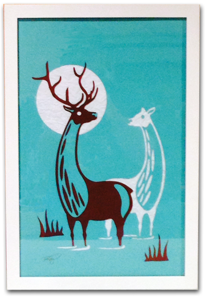 MOONLIGHT ELK Cut Paper Art - Framed