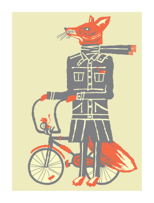 FOX & BIKE Giclee Art Print