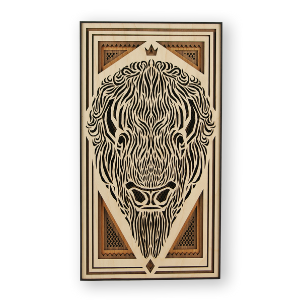 KING BISON Wood Cut Panel