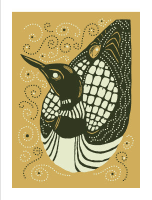 LOON WITH BABY Giclee Art Print