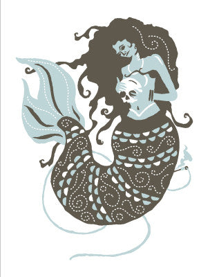 MERMAID AND HER LAND PRINCE Giclee Art Print