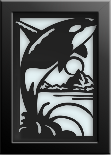 ORCA Cut Paper Art - Framed