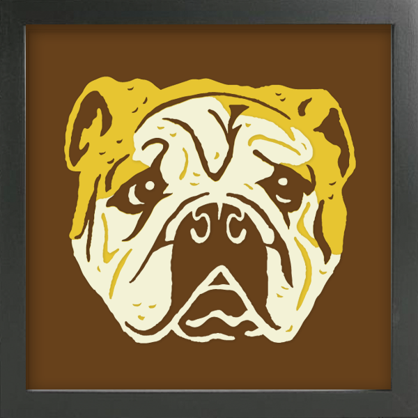 PET PORTRAITS English Bulldog Cut Paper Art - Shadowbox Frame