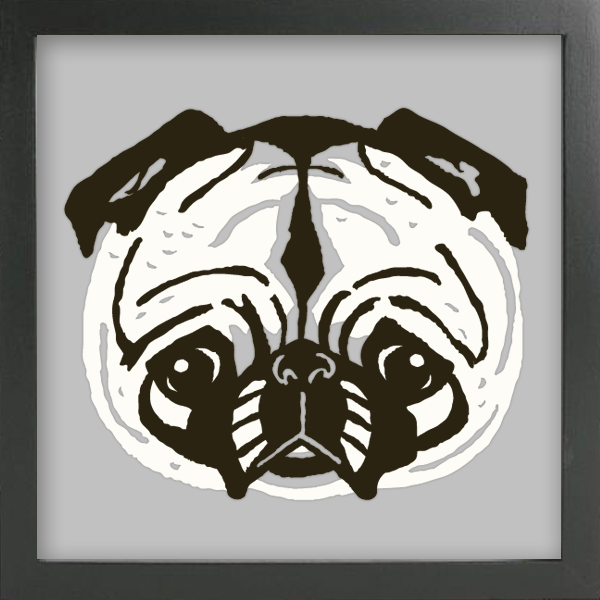 PET PORTRAITS Pug Cut Paper Art - Shadowbox Frame