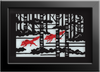 RED WOLVES Cut Paper Art - Shadowbox Frame