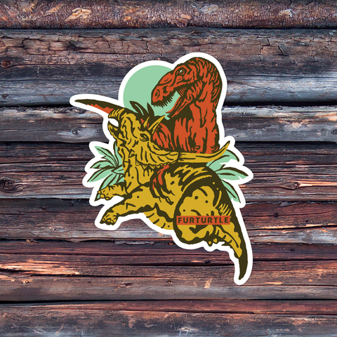 Dino Fight Vinyl Sticker