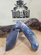Brian Yellow Horse Damascus Folders,Brain Yellow Horse Folder- Tooth and Nail Knives
