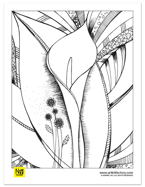 Flower Portrait Doodle Art Coloring Page