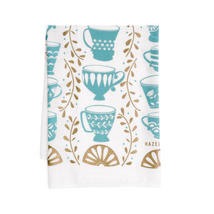 Tea Cups With Metallic Gold Tea Towel / Kitchen Decor
