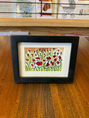 "Cathy Stratton original watercolors 3x4"" framed"