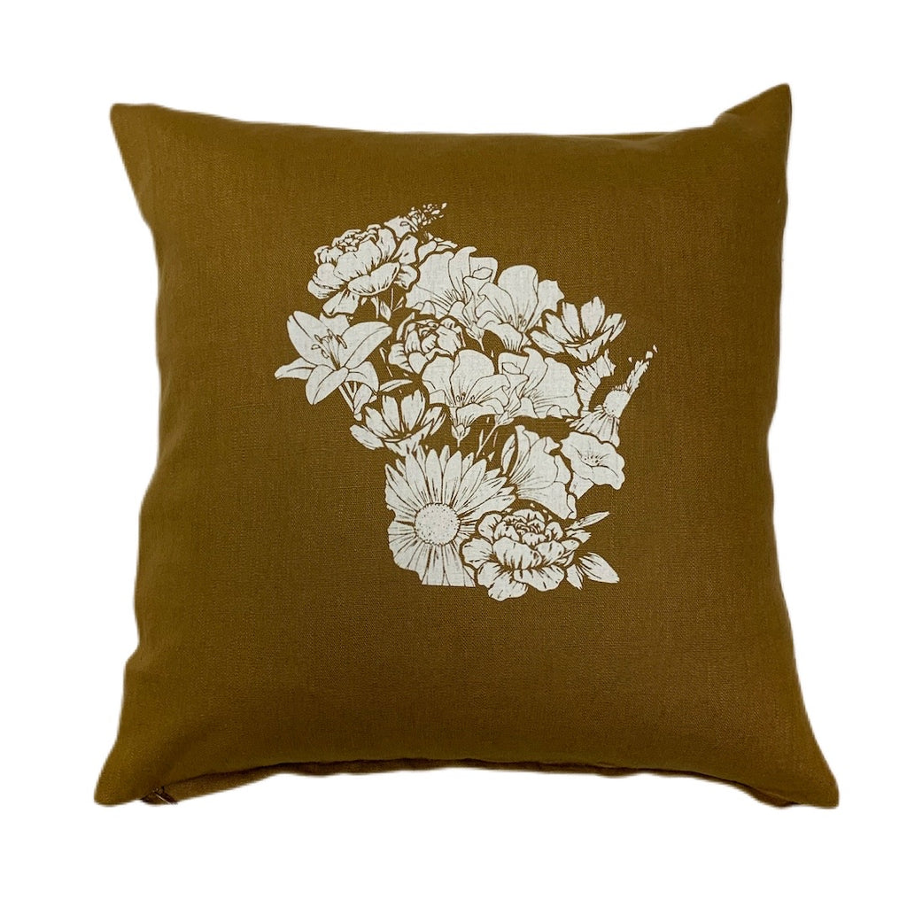 Wisconsin Flower Pillow Cover Mustard
