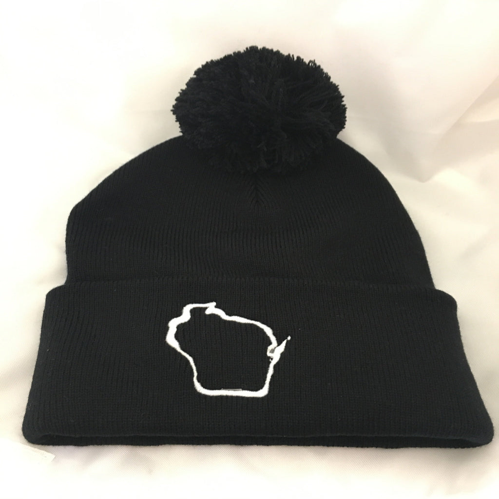 Wisconsin Beanie with Pom Pom Black