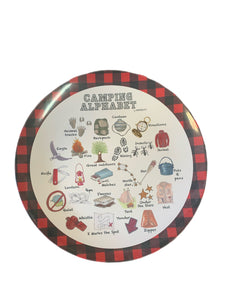 Camping Aplphabet Plate