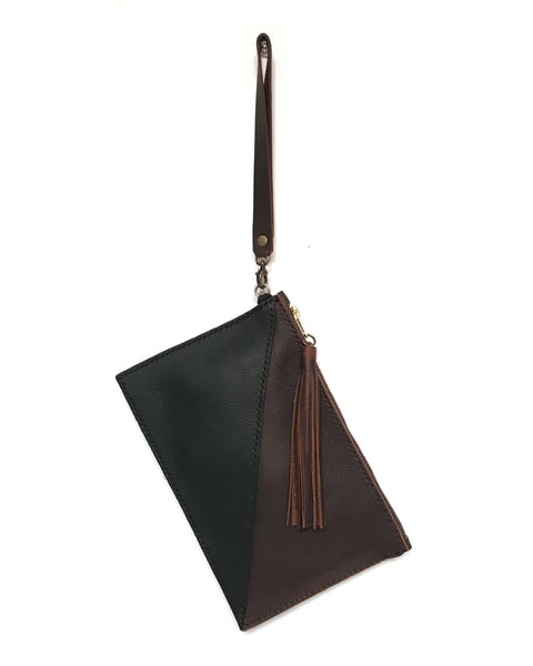 Zipper Clutch / Wristlet - Geo Black & Brown