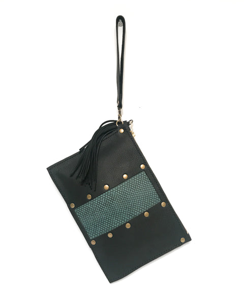 Zipper Clutch / Wristlet - Black w/ Snakeskin